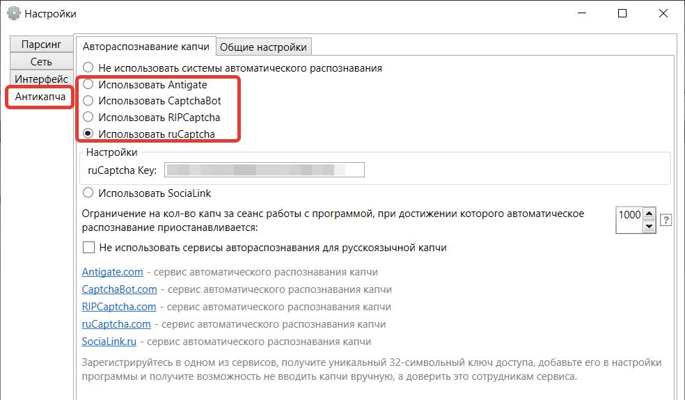 Антикаптча в программе SlovoEB.
