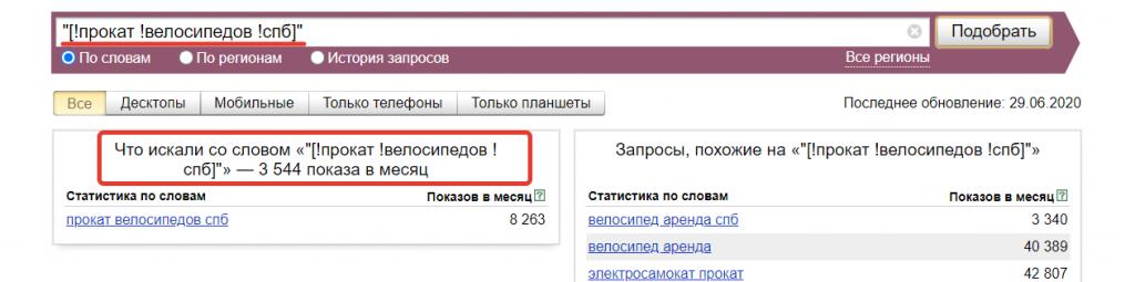 Оператор квадратные скобки в Вордстат Яндекс.
