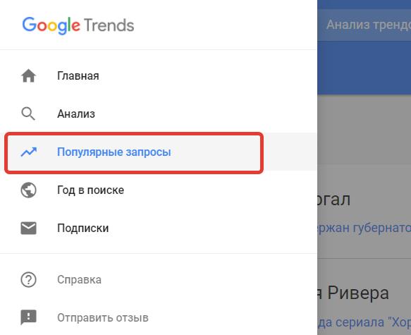 Популярные запросы в Google Trends.
