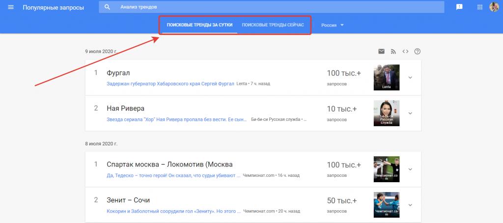 Тренды за сутки в Google Trends.