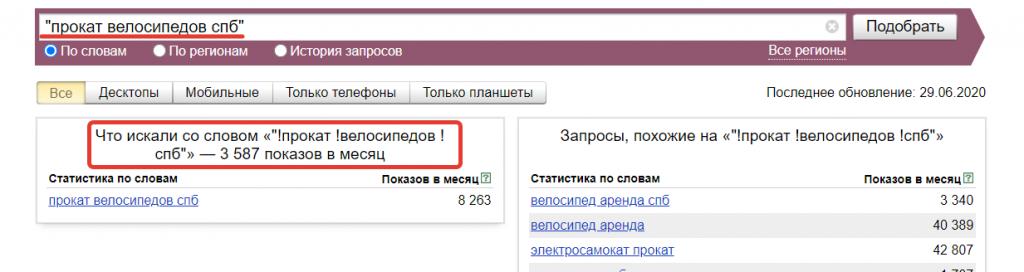 Оператор кавычки в Вордстат Яндекс.