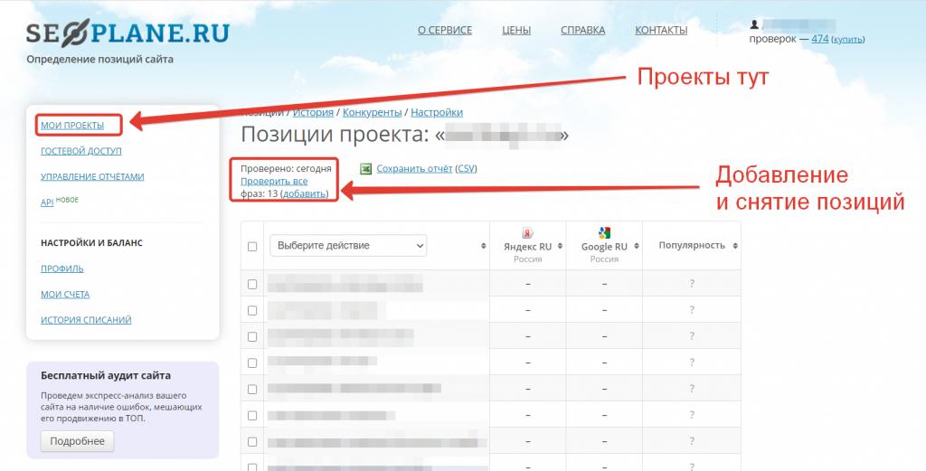 Как посмотреть позиции сайта в Seoplane.